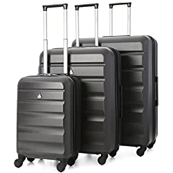 Aerolite ABS Juego de equipaje maleta rígida ligera con 4 ruedas, Gris Oscuro