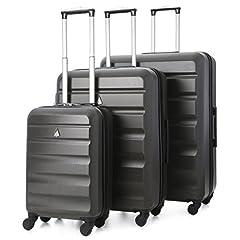 Idea Regalo - Aerolite - Set di 3 Trolley in ABS - Valigie rigide e leggere con 4 ruote - 55cm Bagaglio a mano + Bagaglio medio 69cm + bagaglio grande 79cm - Grigio Carbone