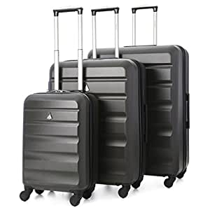 "Aerolite Lightweight 4 Wheel ABS Hard Shell Travel Trolley 3 Piece Lugagge Suitcase Set, 21"" Cabin + 25"" + 29"" Hold Check In Luggage, Charcoal"