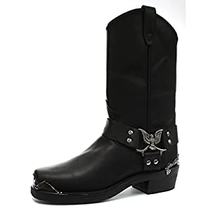 Grinders Eagle High Cowboy Biker Black Leather Boots Western