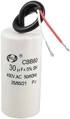 Condensador de Arranque de Motor de 2 Alambres 30uF 450VAC 50/60Hz CBB60 Motor