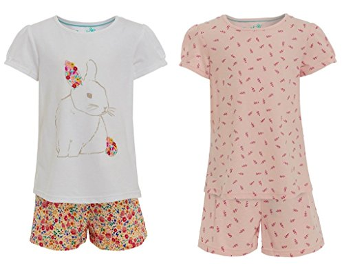 2-pairs-girls-100-cotton-pyjamas-ex-marks-and-spencer-white-rabbit-and-pink-floral-ms-t-shirt-pjs