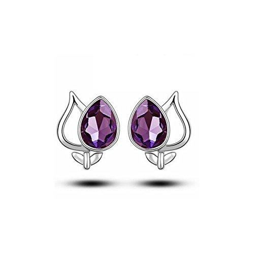 Boucles d'oreilles fleur cristal swarovski elements plaqué or blanc Violet