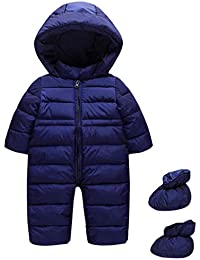 d6e05c432 Baby Snowsuit with Booties Winter Rompers Hooded Warm Onesie Jumpsuit  Outfits 12-18 Months