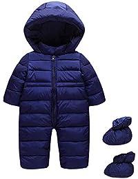 Niños Mameluco con Capucha Bebé Mono Invierno Traje de Nieve Espesar Peleles Pijama con Cubierta del