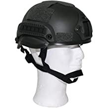Tactical Military Helmet 'MICH 2002' with Rails Padding & Chin Strap Olive Green by MFH