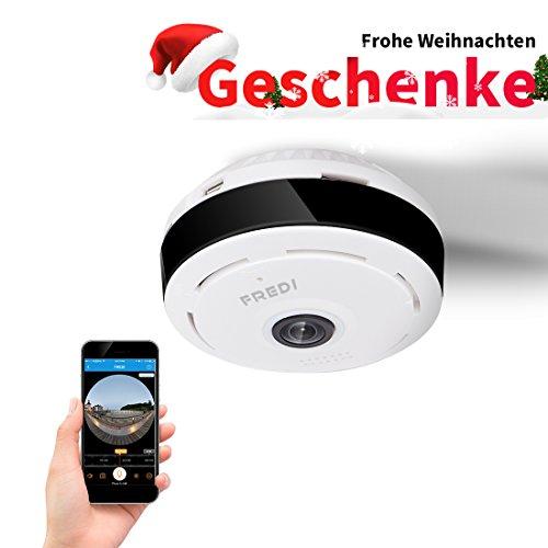 FREDI IP Sicherheit Kamera 960P Panorama Kamera 180°Wlan Videoüberwachung Dome Überwachungskamera IP Cam mit IR Nachtsicht /2 Weg Audio/Bewegungsmelder für Haus /Baby Überwachung (EC6)