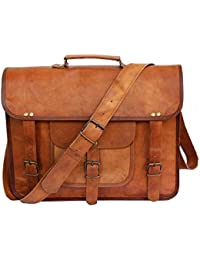Men's 100 % Genuine Vintage Brown Leather Messenger Bag Shoulder Laptop Bag Briefcase- By Tech Green Inc.