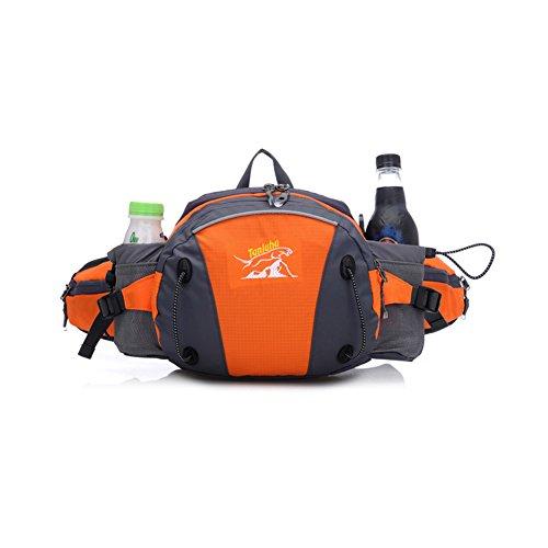 Diamond Candy Marsupio Sportivo a Tracolla o Spalla da Uomo e Donna impermeabile Borsa in Nylon regolabile in vita con accessori sacchetto Waist bag Nero Arancione