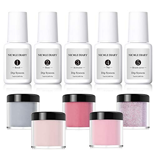 NICOLE DIARY Dip Pulver Nagel Starter Kit Acryl Tauchsystem Klarflüssiges Acryl-Pigmentpulver für French nail art Set (Kommt mit Base, Aktivator, Top, Bond und Brush Saver) - Gel-acryl-kit