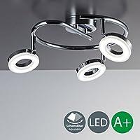 Lámpara de techo y pared I Foco LED en forma de espiral I Giratorio y orientable I Incluye 3 bombillas GU10 I Lámpara de habitación I Cromado I Focos redondos I Plástico y metal I 230 V I IP20 I 3 x 4 W