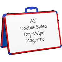 Wedge Whiteboards - A2 - Dry Wipe / Magnetic / Double Sided / Portable / Table Top White Board / Teaching Aid / Early Years / Planning / Notice Board (Landscape RED & BLUE)