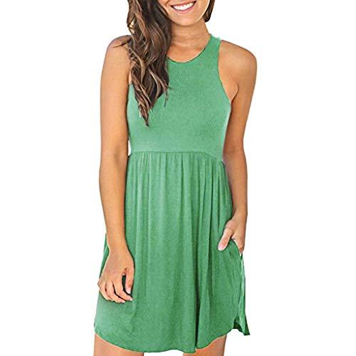 HULKY Frau Rundhals Einfarbig Einfarbig Sommerkleid ärmellos Lose Kleid Mit Elastischer Taille Und Weste Lässiges Basic Oberteile (grün,L2)