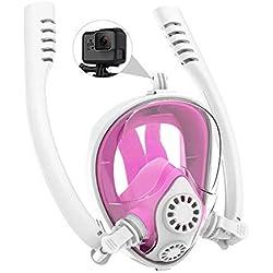 XIONGDA Masque de plongée Masque Complet de plongée en apnée Anti-buée et Anti-Fuite Souffle Facile avec Support de caméra détachable pour Les Enfants, en Particulier Les porteurs de Lunettes,Pink