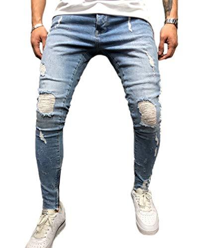 Männer Casual Distressed Zerrissene Destroyed Jeans Slim Fit Skinny Denim Moto Seite Gestreifte Biker Bleistift Hosen (2XL, Hellblau) (Herren-skinny-jeans Zerstört)