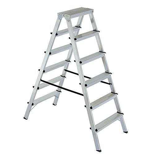 Alu-Klappleiter Doppelleiter Bockleiter Malerleiter Leiter 2x6 Stufen