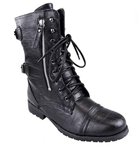 WOMENS LADIES ARMY COMBAT LACE UP ZIP GRUNGE MILITARY BIKER TRENCH PUNK GOTH ANKLE BOOTS SHOES SIZE