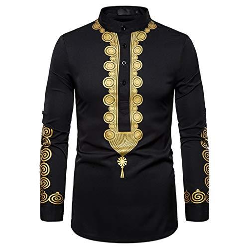 Andouy Herren Shirts Nahen Osten Stil Vintage Gedruckt Tops Lässige Langarmshirt Slim Fit Henley Hemd Jacke(2XL.Schwarz-1)