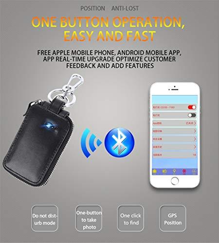 CARGPS GPS Tracker Autoschlüssel Tasche Smart Bluetooth Anti Verloren Brieftasche Haushälterin Multifunktions Reißverschluss Autoschlüssel Fall für Männer Frauen,Black