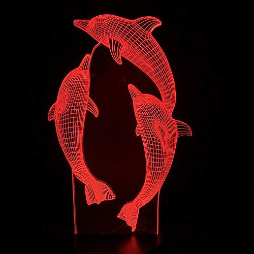Drei Delfine 7 Farbe Illusion Lampe Kinder Usb Berühren Sie 3D Tischlampe Halloween Weihnachten Kinder Geschenk Schlafzimmer Nachttischlampe ()