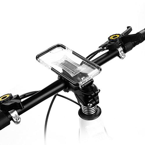 Multi-función Funda Movil Bicicleta para iPhone 8, iPhone7, iPhone 6s, iPhone 6, GVDV Soporte Movil para la potencia de bici, MTB y Moto con Ángulo Visual Ajustable, Base Metálica y Funda Silicona Transparente