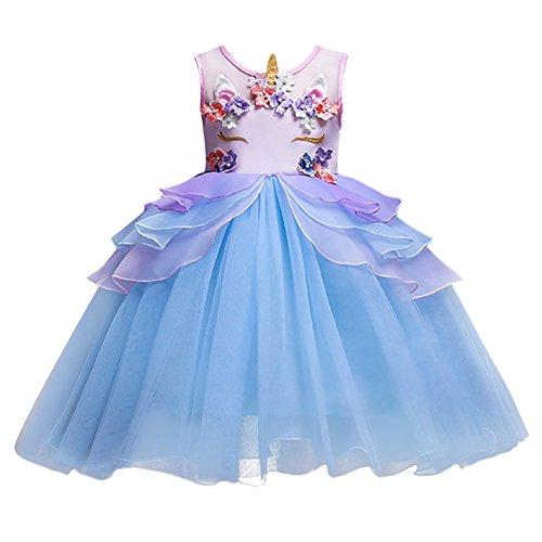 OBEEII Baby Kleid, Chiffon Baby Kinder Mädchen Prinzessin Einhorn Dekoration Drucken Brautjungfer Festzug Party Hochzeitskleid Blau 9-10 Jahre (Top 10 Niedlichen Kostüm)
