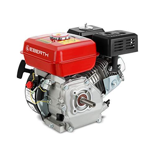 EBERTH 6,5 PS 4,8 kW Benzinmotor Standmotor Kartmotor Antriebsmotor Austauschmotor (20 mm Ø Welle, Ölmangelsicherung, 1 Zylinder Benzinmotor, 4-Takt, luftgekühlt, Seilzugstart) rot
