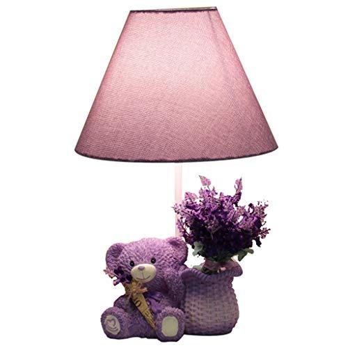 ZQH Kinder Bär Tabelle Lampe, Kreativ Schlafzimmer Nachttischlampe Süß Lavendel Bär Schreibtischlampe E27 Kinderzimmer Dekorativ Beleuchtung Mädchen Geburtstagsgeschenk (Mit Blumenstrauß),42 * 26CM (Lampe Lavendel Kinderzimmer)