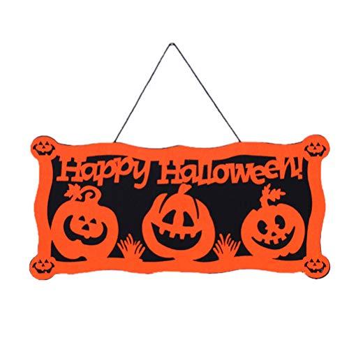 BESTOYARD Halloween hängenden Tag mit Happy Halloween Zeichen für Tür Wand(Orange Kürbis