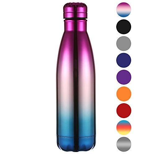 Ecooe Thermosflasche 500ml doppelwandig Trinkflasche Edelstahl Wasserflasche Vakuum Isolierflasche (Mehrfarbigl)