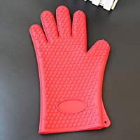 IDEA HIGH 1696 mitones para horno de microondas, guantes de cocción a alta temperatura para cocción antiescaras, aislamiento térmico, antideslizante, guantes de silicona: rojo
