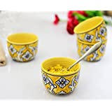 KITTENS Ceramic Maggi Bowl Hand Painted In Lemon Yellow - Set Of 4