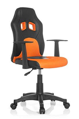 hjh OFFICE 670710 Kinderschreibtischstuhl TEEN RACER AL schwarz / orange mit Armlehne Kinder-Drehstuhl