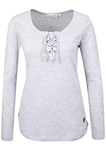 Sublevel Damen Basic Longsleeve mit Kordeln | Elegantes Langarm-Shirt leicht meliert Light-Grey XL