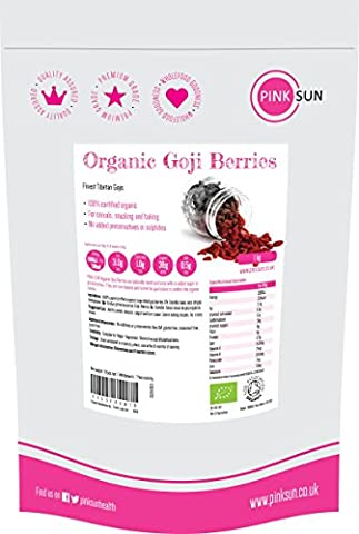 PINK SUN Baies de Goji Bio 1kg (ou 500g) Les Plus Grands Baies Tibétaines de Goji 1000g- Finest Organic Tibetan Goji Berries Large