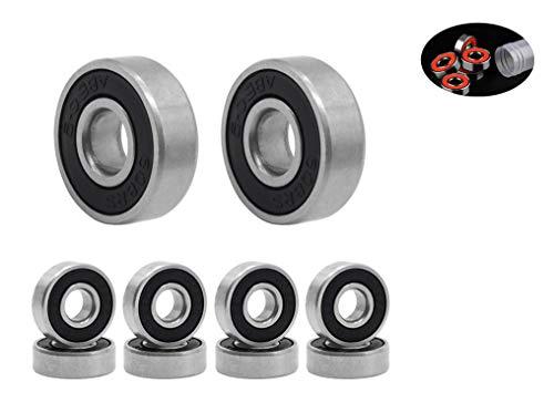 Rodamientos de Skate,608 RS Cojinetes de Patines 8 Pack Doble Rodamientos Metal Cojinetes de Skateboards Longboard para Fidget Spinner Proyecto de impresión en 3D Patinetas 608 ZZ ABEC-9 8mm Negro