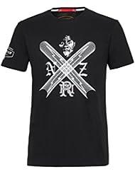 El delantero batalla NZ Rugby hombre camiseta Negro Z78 Black Talla:large