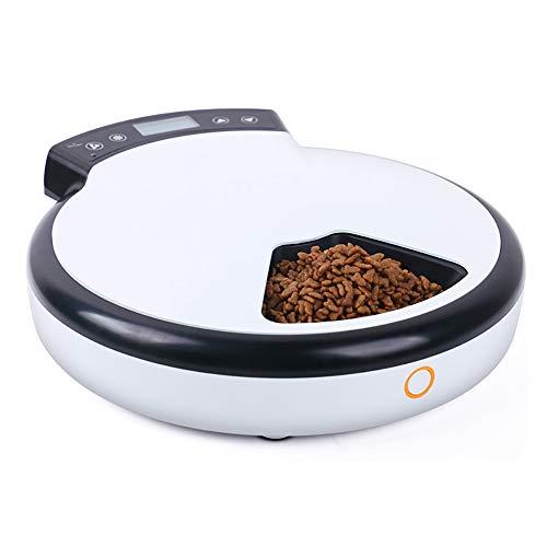 LBAFS 5 Mahlzeiten Automatischer Futterautomat Für Hunde Und Katzen Trockener Und Nasser Futterspender Mit Zeitsteuerung, Diktiergerät, Futterschale