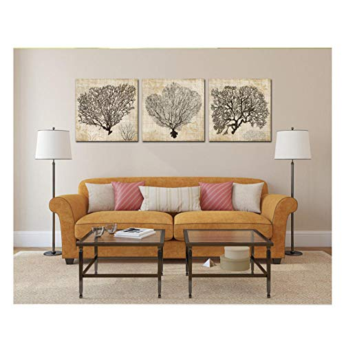 3 Stücke Korallen Dekorative Gemälde Dekoration Für Wohnzimmer Leinwand Gemälde Wandbilder / 50X70 Cmx3 (kein Rahmen)