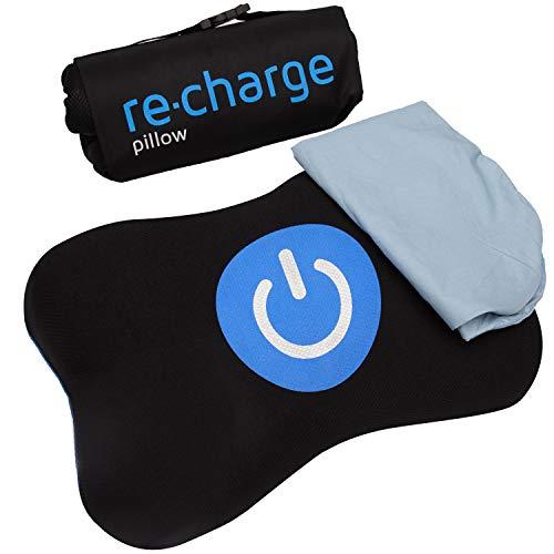 RE-CHARGE Pillow - Orthopädisches HWS Nackenstützkissen für zuhause und auf Reisen | Mit Bambus-Aktivkohle Memory-Schaum, funktionalen Doppel-Bezug & hochwertiger Reisehilfe | Kopfkissen / Reisekissen