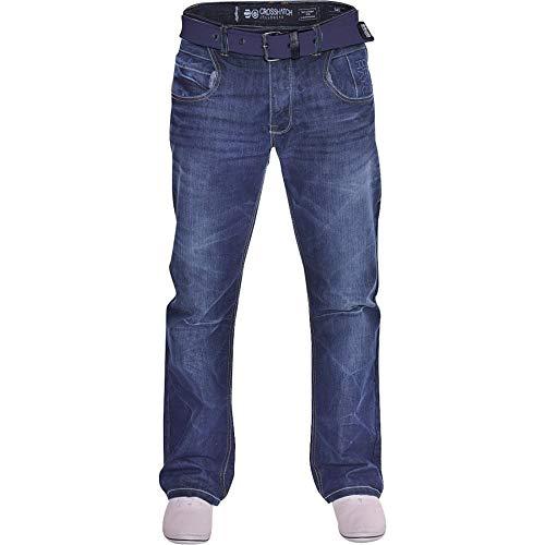 cfbdcce8f877e1 Crosshatch Mens Hardwearing Durable Quality Denim Jeans Straight Leg Dark  Blue 44W / 32L Stonewash Blue