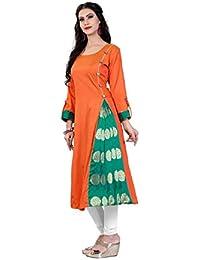Daily Fashion Women's A-Line Blue & Orange & Green Color Taffeta Silk Kurti