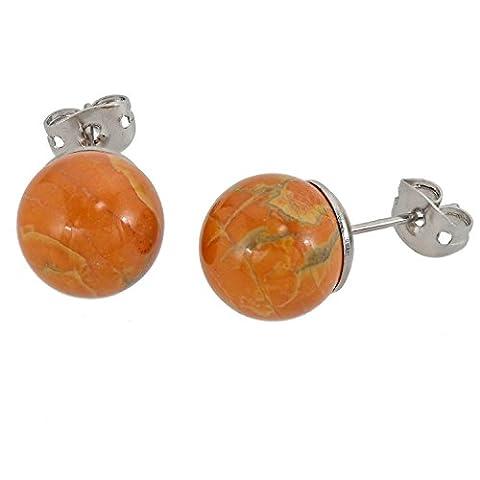 Lassiere Damen Ohrringe Ohrstecker Howlith Kugel gelb orange
