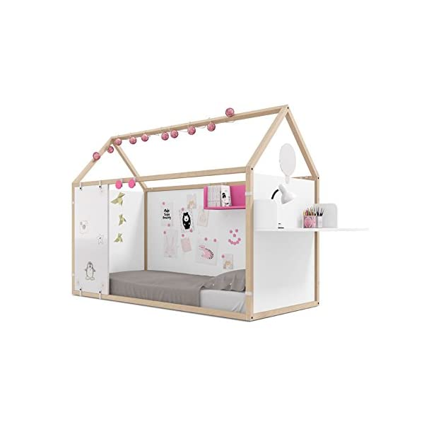 Meubles ROS Ros Lit House with Magnetic Boards Velleda Panels and Office Furniture-158,5x202x102cm, Beech/White Meubles ROS Sleeping Dimensions: 190x90 Mattress Made of Beechwood included. Structure in varnished natural beech wood. 1
