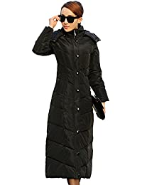 Queenshiny long to ankle Women's Down Coat below knees thick hooded stand collar slim winter waterproof