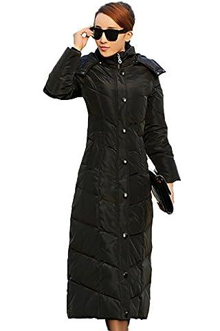 queenshiny Damen Lange Daunenjacke Mantel Jacke mit Kapuze unterhalb der Knie Winter Schwarz 40