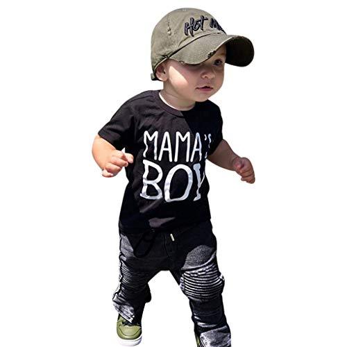 Sonnena Kinder Kurzarm Briefdruck Kostüm Top Set Baby Kleidung Set Kleinkind 2 Stücke Infant Baby Mädchen Jungen T-Shirt Tops + Hosen Kleidung - Kleinkind Kostüm Clearance