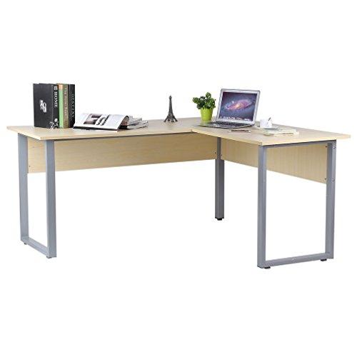 Blackpoolal L-Form Schreibtisch Eckschreibtisch Eckcomputertisch Computerschreibtisch Bürotisch Computertisch Winkelkombination Holz Tisch Buche 160 x 140 x 74cm