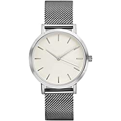 KEERADS Quartz Watch with Analogue Display and Stainless Steel Strap Silver