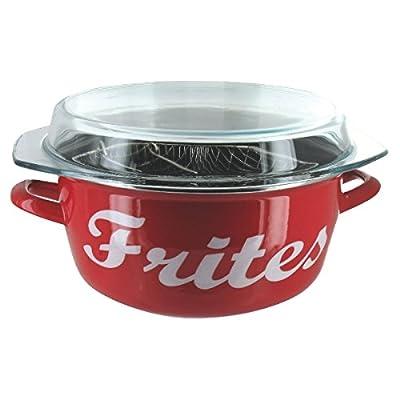 BAUMALU - Friteuse Emaillée 26 cm rouge inscription frites *